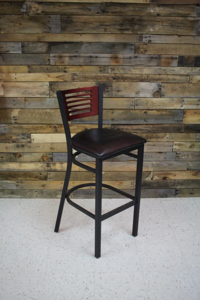 Where to find BARSTOOL, BLACK PAD W  WOOD BACK in Raleigh